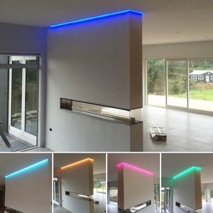 LED striping lighting and plastering wall and ceiling