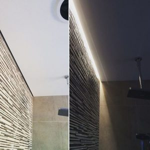 strip lighting and plastering feature